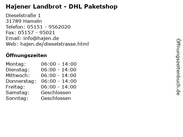 Hajener Landbrot - DHL Paketshop in Hameln: Adresse und Öffnungszeiten