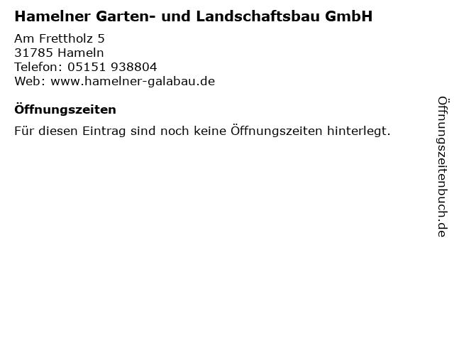 Hamelner Garten- und Landschaftsbau GmbH in Hameln: Adresse und Öffnungszeiten