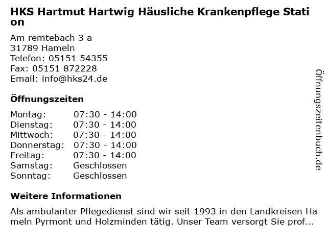 Hartmut Hartwig ambulante Krankenpflege in Hameln: Adresse und Öffnungszeiten