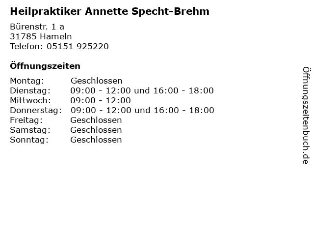 Heilpraktiker Annette Specht-Brehm in Hameln: Adresse und Öffnungszeiten