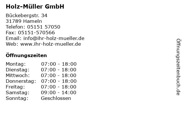 Holz-Müller GmbH in Hameln: Adresse und Öffnungszeiten