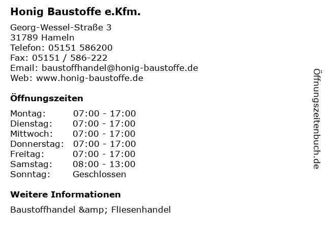 Honig Baustoffe e.Kfm. in Hameln: Adresse und Öffnungszeiten