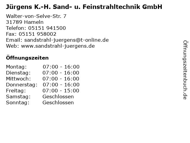 Jürgens K.-H. Sand- u. Feinstrahltechnik GmbH in Hameln: Adresse und Öffnungszeiten