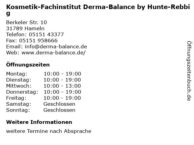Kosmetik-Fachinstitut Derma-Balance by Hunte-Rebbig in Hameln: Adresse und Öffnungszeiten