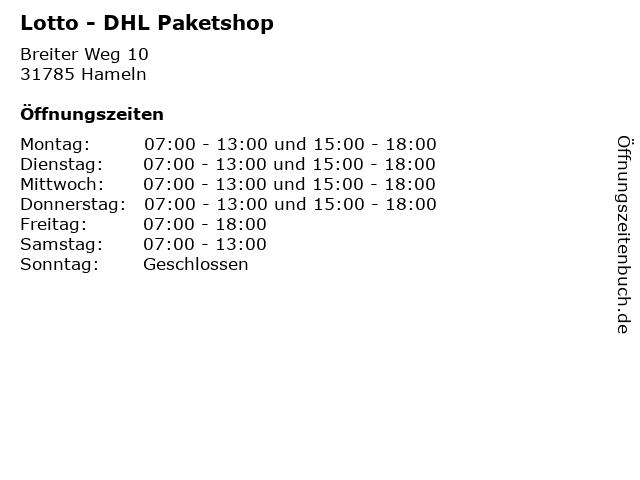 Lotto - DHL Paketshop in Hameln: Adresse und Öffnungszeiten