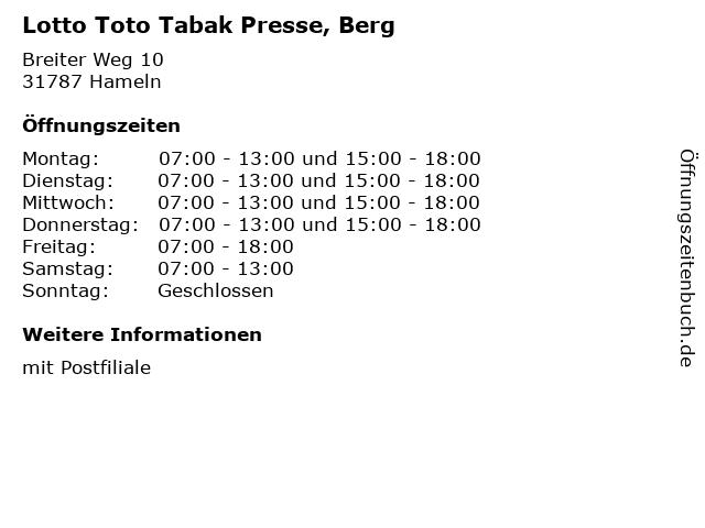 Lotto Toto Tabak Presse, Berg in Hameln: Adresse und Öffnungszeiten