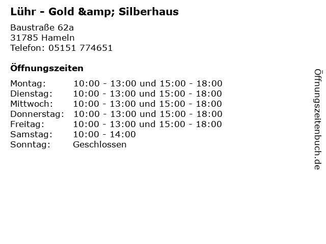 Lühr - Gold & Silberhaus in Hameln: Adresse und Öffnungszeiten