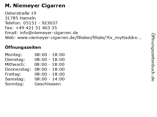 M. Niemeyer Cigarren in Hameln: Adresse und Öffnungszeiten