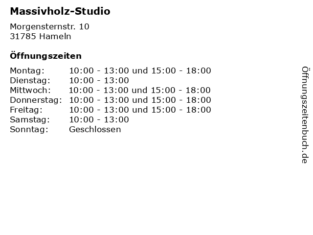 Massivholz-Studio in Hameln: Adresse und Öffnungszeiten