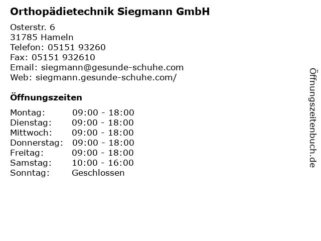 Orthopädietechnik Siegmann GmbH in Hameln: Adresse und Öffnungszeiten