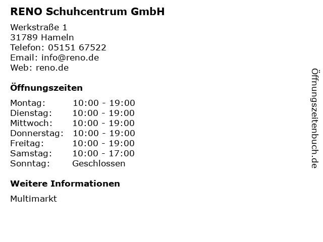 RENO Schuhcentrum GmbH in Hameln: Adresse und Öffnungszeiten