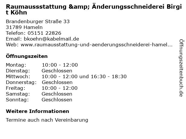 Raumaussstattung & Änderungsschneiderei Birgit Köhn in Hameln: Adresse und Öffnungszeiten
