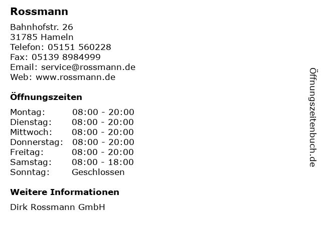 Rossmann in Hameln: Adresse und Öffnungszeiten