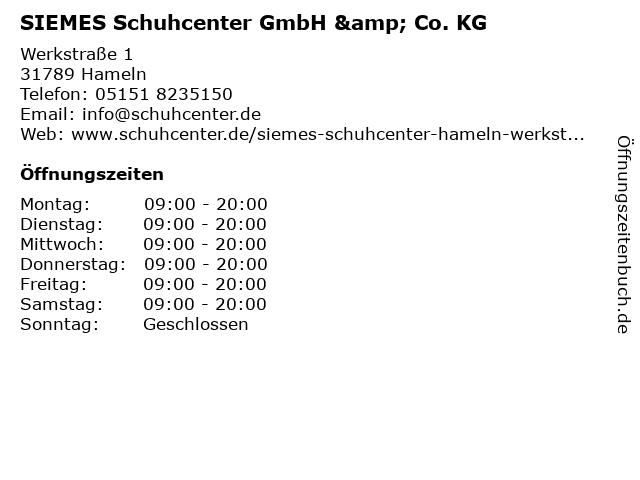 SIEMES Schuhcenter GmbH & Co. KG in Hameln: Adresse und Öffnungszeiten