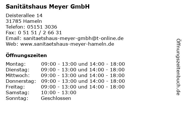 Sanitätshaus Otto Meyer in Hameln: Adresse und Öffnungszeiten