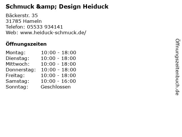 Schmuck & Design Heiduck in Hameln: Adresse und Öffnungszeiten