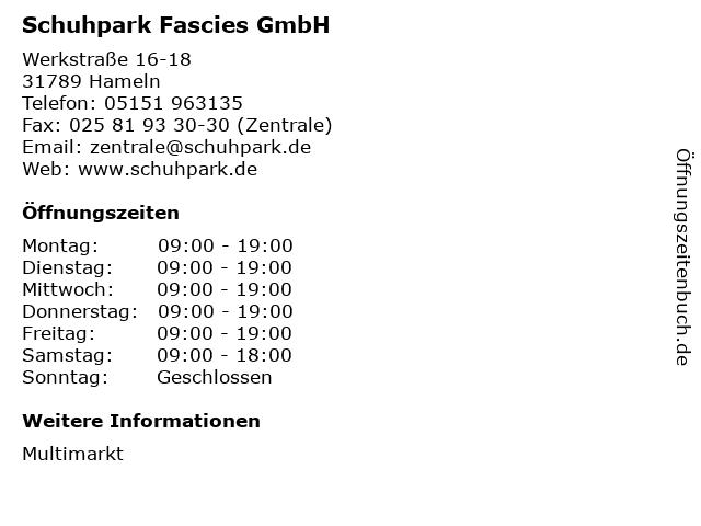 Schuhpark Fascies GmbH in Hameln: Adresse und Öffnungszeiten