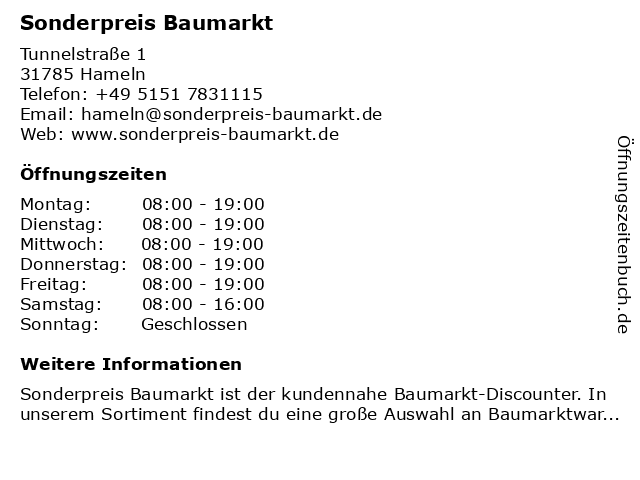 Sonderpreis Baumarkt in Hameln: Adresse und Öffnungszeiten