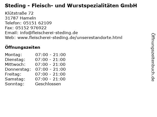 Steding - Fleisch- und Wurstspezialitäten GmbH in Hameln: Adresse und Öffnungszeiten