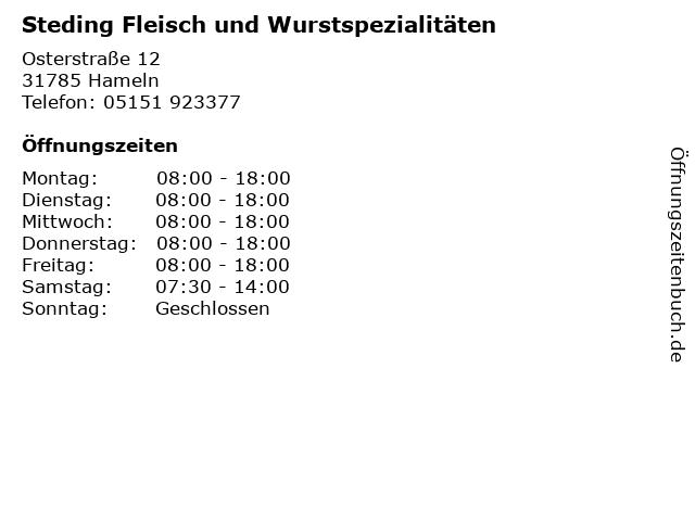Steding Fleisch und Wurstspezialitäten in Hameln: Adresse und Öffnungszeiten