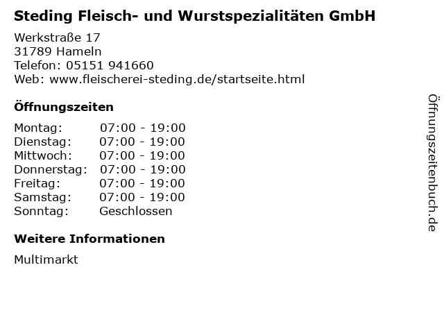 Steding Fleisch- und Wurstspezialitäten GmbH in Hameln: Adresse und Öffnungszeiten