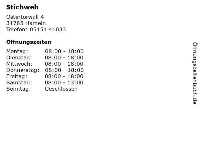 Stichweh in Hameln: Adresse und Öffnungszeiten