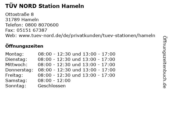 TÜV-NORD Station Hameln in Hameln: Adresse und Öffnungszeiten