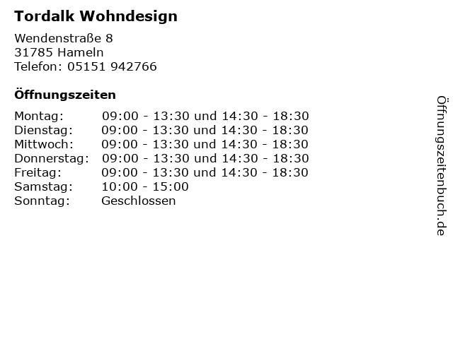 ᐅ Offnungszeiten Tordalk Wohndesign Wendenstrasse 8 In Hameln