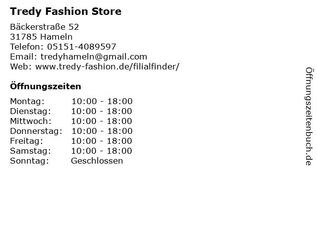 Tredy Fashion Store in Hameln: Adresse und Öffnungszeiten