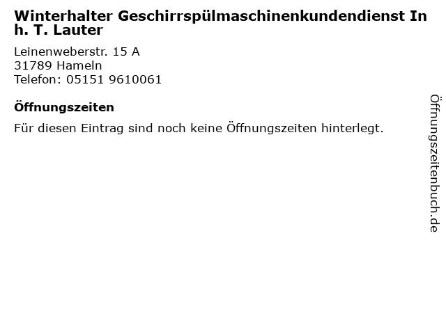 Winterhalter Geschirrspülmaschinenkundendienst Inh. T. Lauter in Hameln: Adresse und Öffnungszeiten