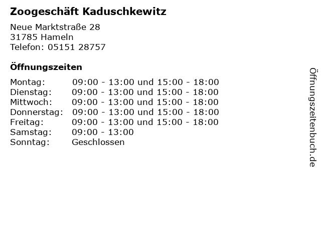 Zoogeschäft Kaduschkewitz in Hameln: Adresse und Öffnungszeiten
