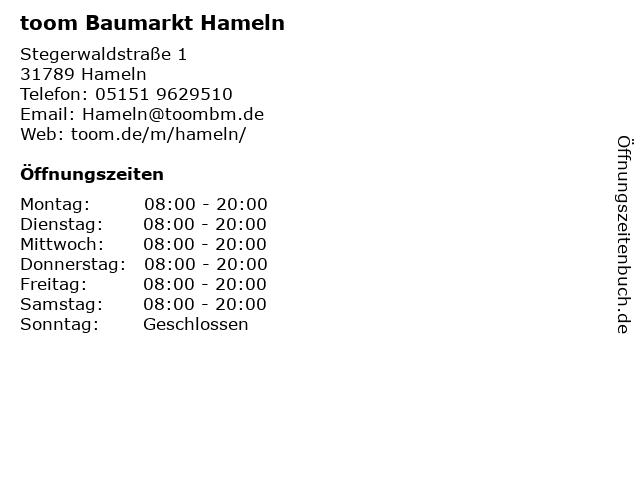 toom Baumarkt Hameln in Hameln: Adresse und Öffnungszeiten