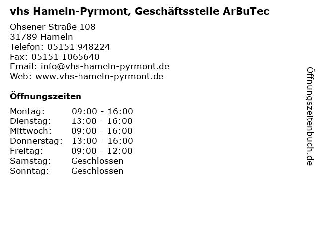 vhs Hameln-Pyrmont, Geschäftsstelle ArBuTec in Hameln: Adresse und Öffnungszeiten
