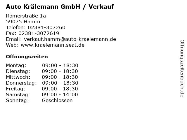 Auto Krälemann GmbH / Verkauf in Hamm: Adresse und Öffnungszeiten