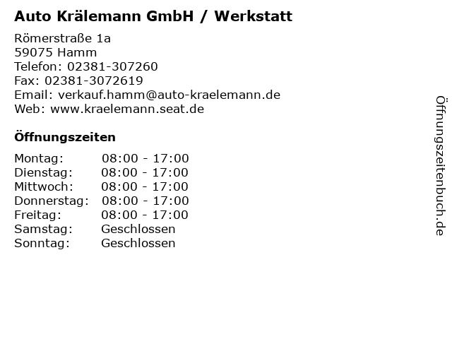 Auto Krälemann GmbH / Werkstatt in Hamm: Adresse und Öffnungszeiten