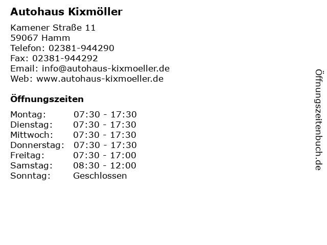 Autohaus Kixmöller in Hamm: Adresse und Öffnungszeiten