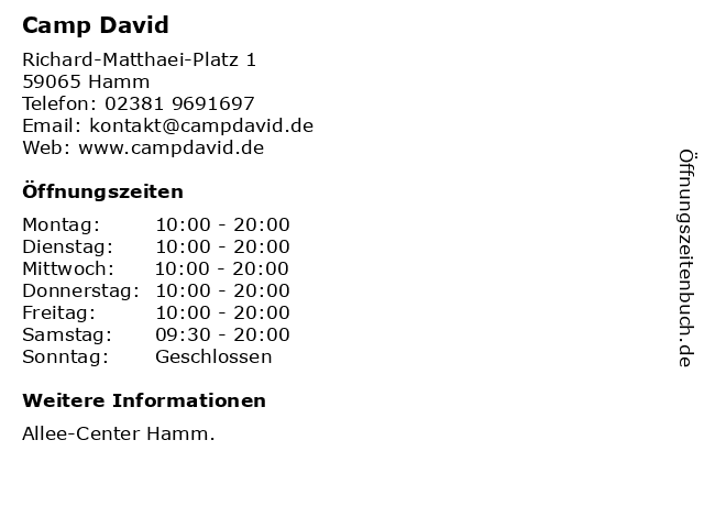 Camp David in Hamm: Adresse und Öffnungszeiten