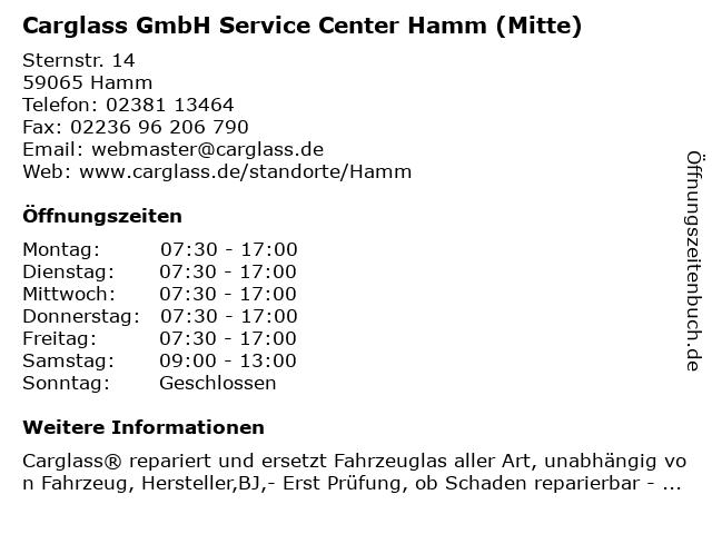 Carglass GmbH Service Center Hamm (Mitte) in Hamm: Adresse und Öffnungszeiten