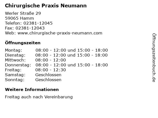 Chirurgische Praxis Neumann in Hamm: Adresse und Öffnungszeiten