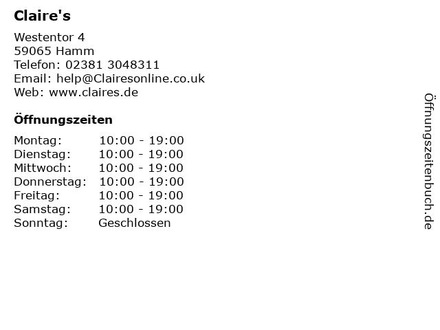 Claire's in Hamm: Adresse und Öffnungszeiten