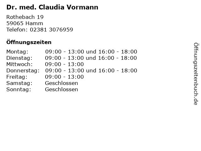 Dr. med. Claudia Vormann in Hamm: Adresse und Öffnungszeiten