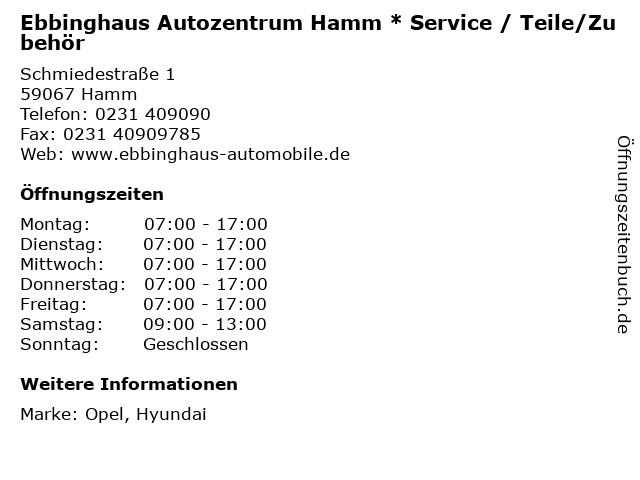 """ᐅ Öffnungszeiten """"ebbinghaus autozentrum hamm * service / teile"""