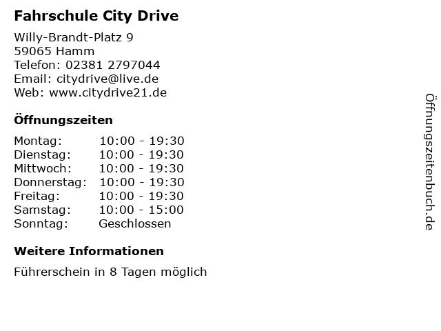 Fahrschule City Drive in Hamm: Adresse und Öffnungszeiten