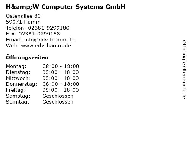 H&W Computer Systems GmbH in Hamm: Adresse und Öffnungszeiten