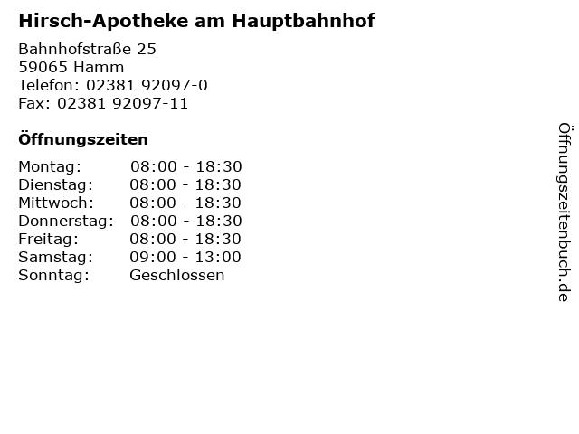 Hirsch-Apotheke am Hauptbahnhof in Hamm: Adresse und Öffnungszeiten