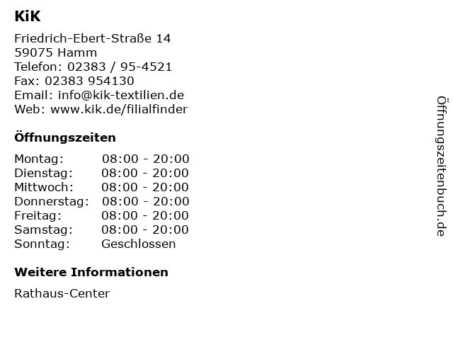 KiK Textilien & Non-Food GmbH in Hamm: Adresse und Öffnungszeiten