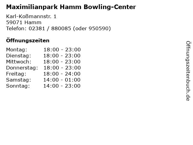 Maximilianpark Hamm Bowling-Center in Hamm: Adresse und Öffnungszeiten
