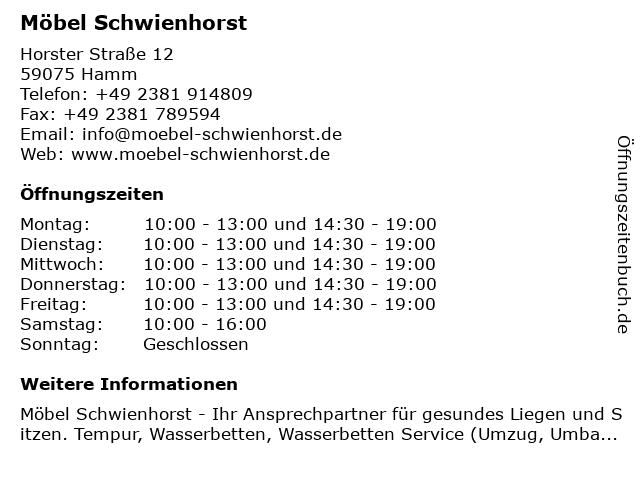 ᐅ öffnungszeiten Möbel Schwienhorst Horster Straße 12 In Hamm