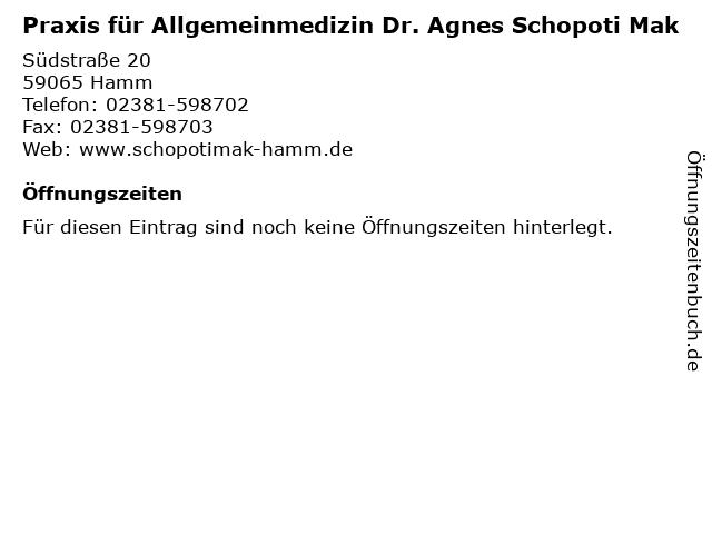 Praxis für Allgemeinmedizin Dr. Agnes Schopoti Mak in Hamm: Adresse und Öffnungszeiten