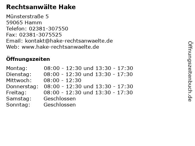 Rechtsanwälte Hake in Hamm: Adresse und Öffnungszeiten